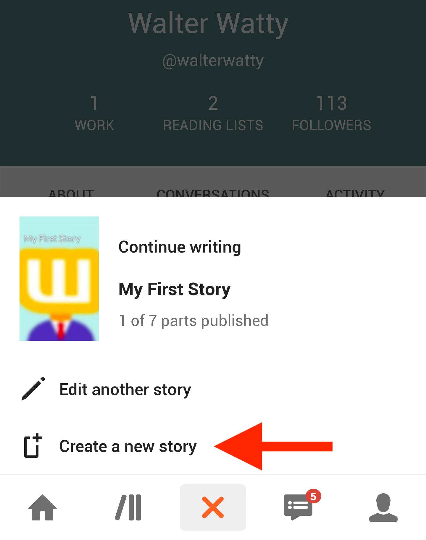 Story navigation open pointing to Create story option.