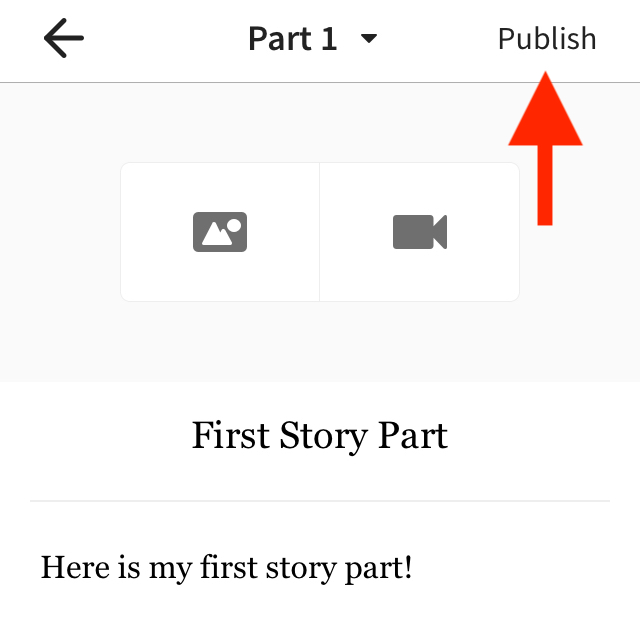 The story part open with an arrow pointing to the Publish button on iOS