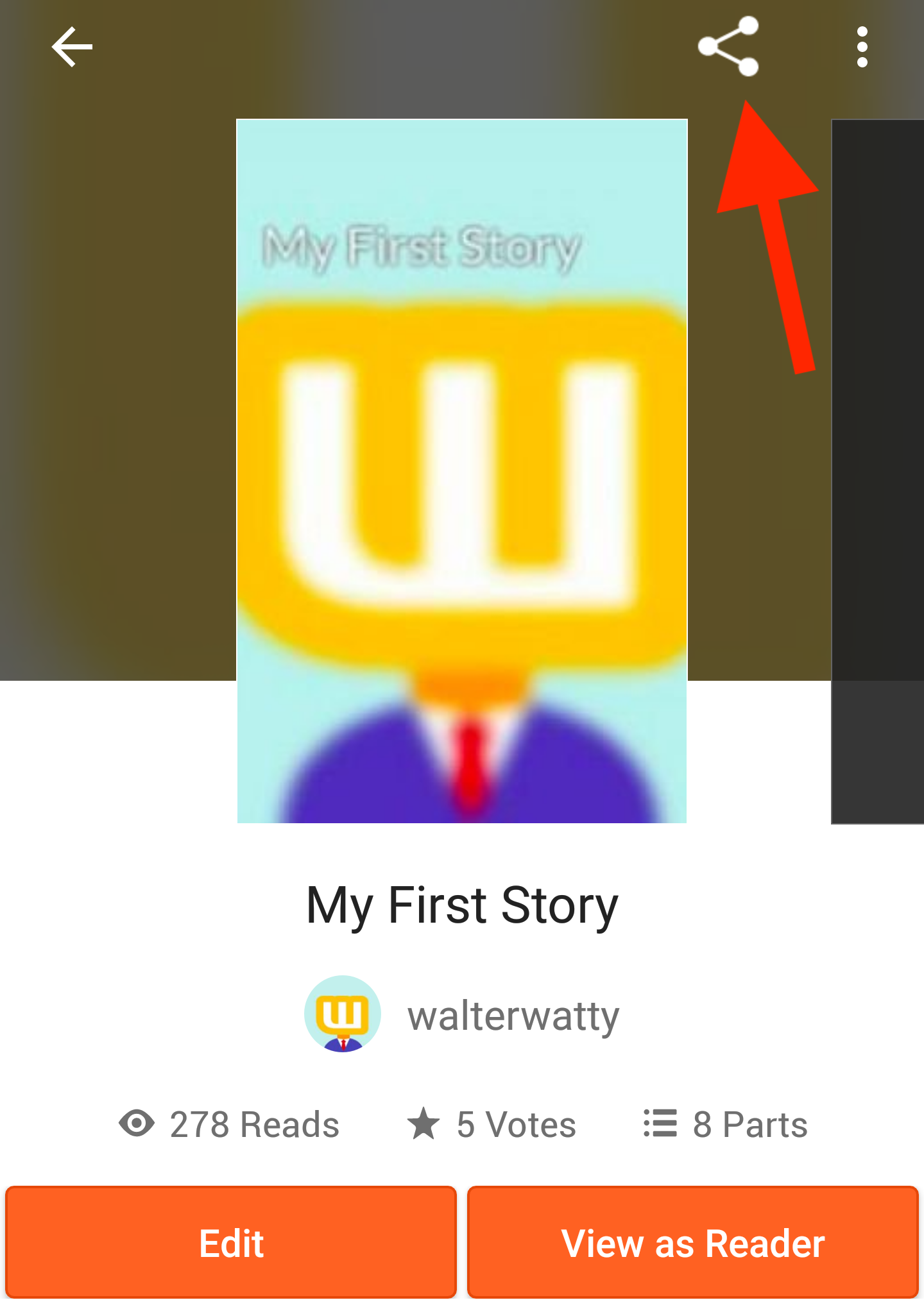 The story details page with arrow pointed towards share icon.