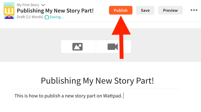 The story part open with an arrow pointing to the Publish button on web