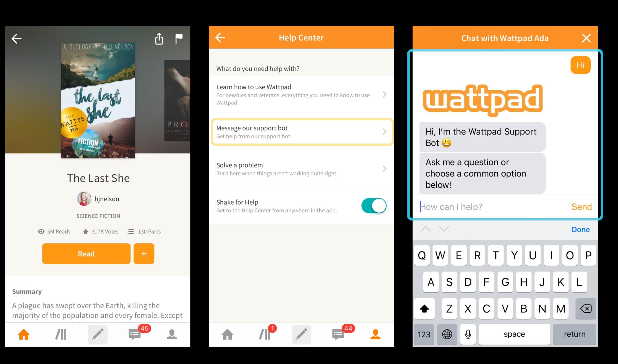 How Ada works in the Wattpad app